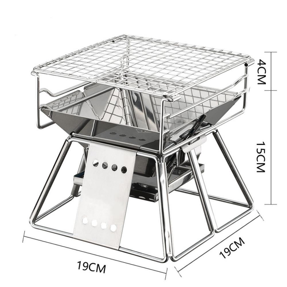 Portable Camping Grill 19X19X19cm Stainless Folding Charcoal BBQ Grills For Outdoor Garden Picnic Barbecue BBQ Roast Stove Rack