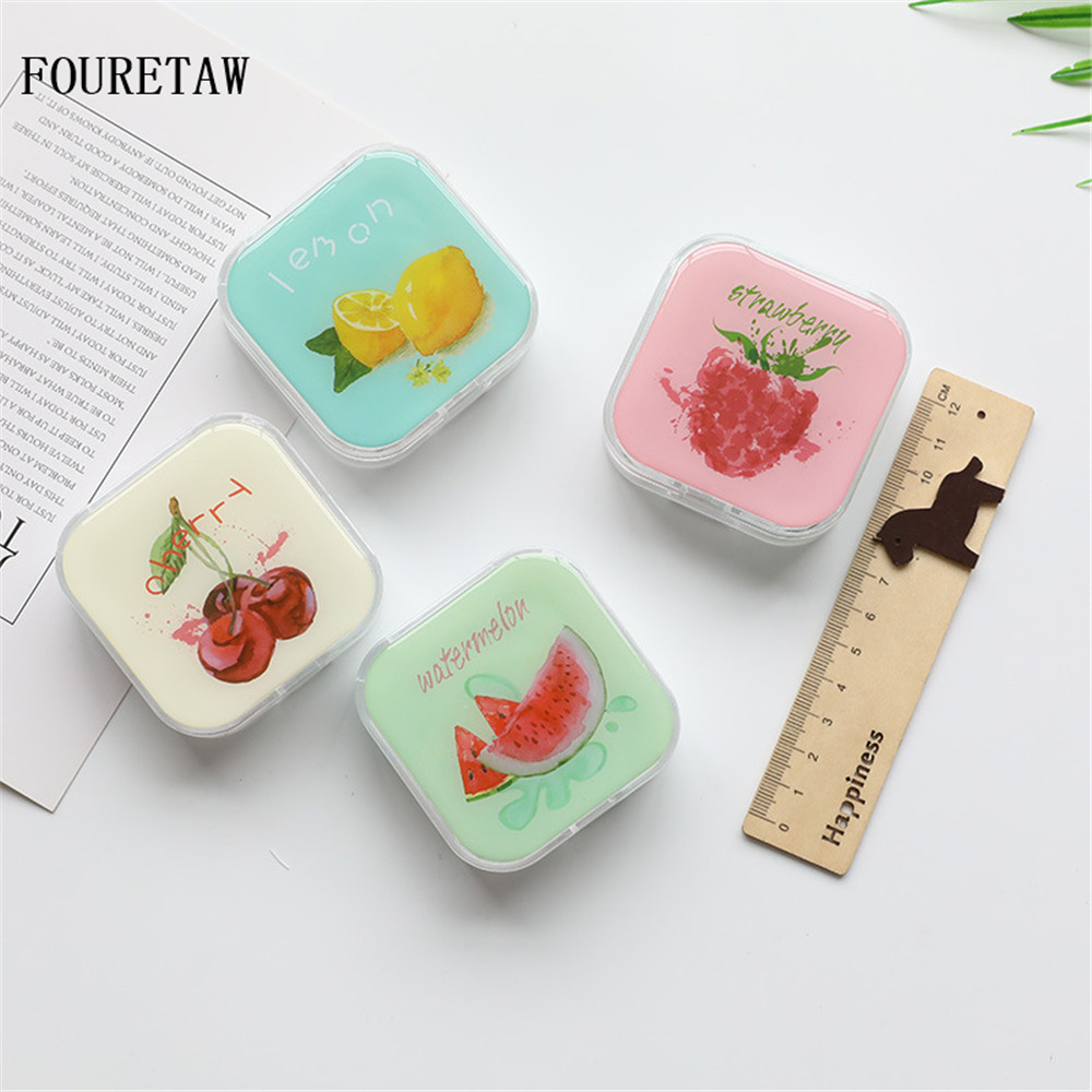 New Fashion Fouretaw 1 Set Cute Fruits Watermelon Cherry Lemon Pattern Pocket Mini Contact Lens Case Travel Kit Easy Carry Mirror Container Beneficial To Essential Medulla Men's Glasses