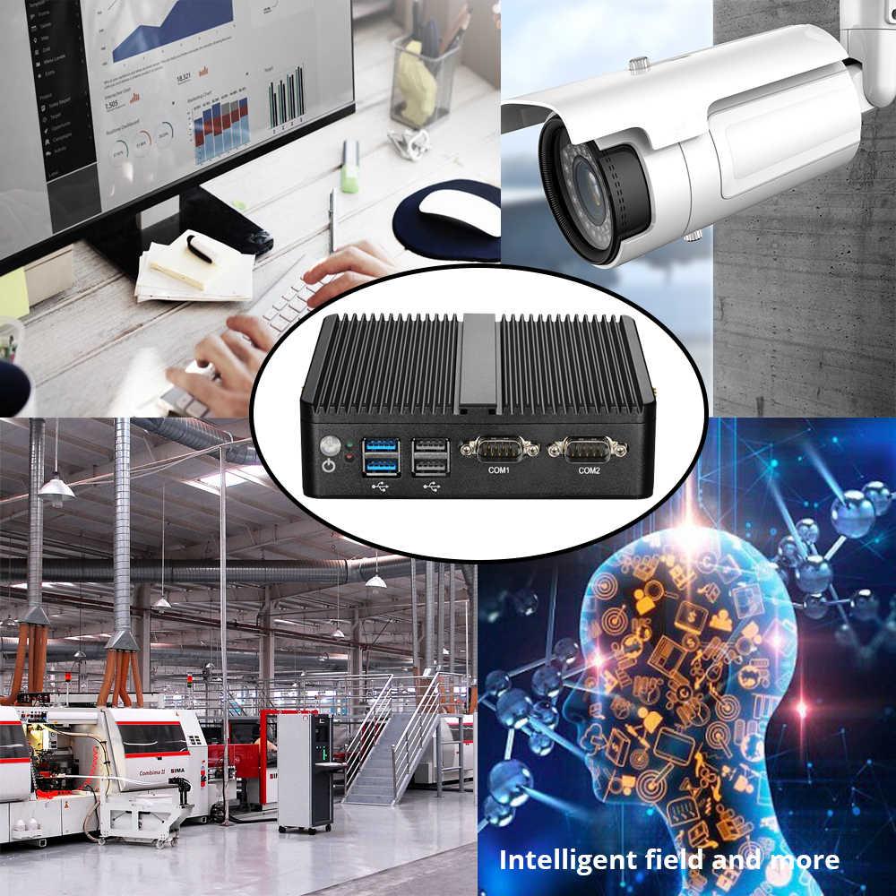 Mini PC sin ventilador integrado Intel Celeron computadora N2808 N2830 Windows Linux 2 * LAN 2 * RS232 WiFi Industrial compacto PC