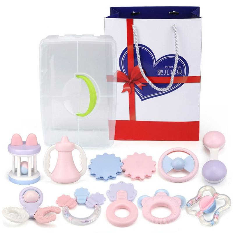 Parent-enfant interactif nouveau-né main anneau molaire Set cadeau pour l'éducation de la petite enfance garçon filles jouets bébé main tenir hochet