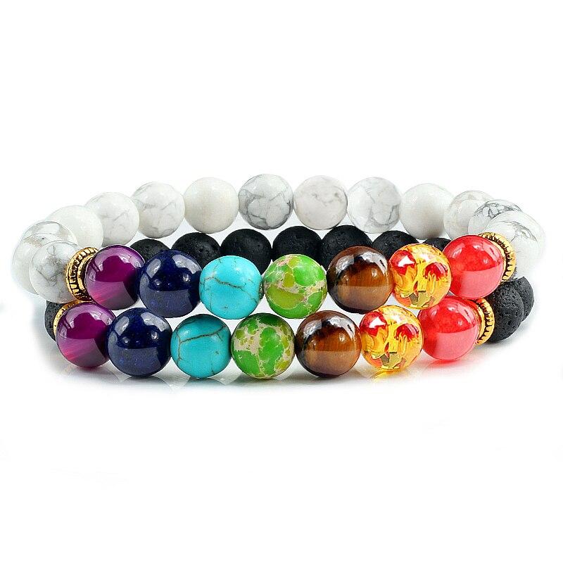 2Pcs/set 7 Chakra Bracelet For Women Men Balance Buddha Reiki Prayer Tiger Eyes Black Natural Stone Beads Yoga Strand Bracelets