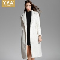 New Autumn White Single Button Woman Wool Coat Turn Down Collar Loose Fit Luxury Female Outerwear Thick Warm Elegant Runway Coat