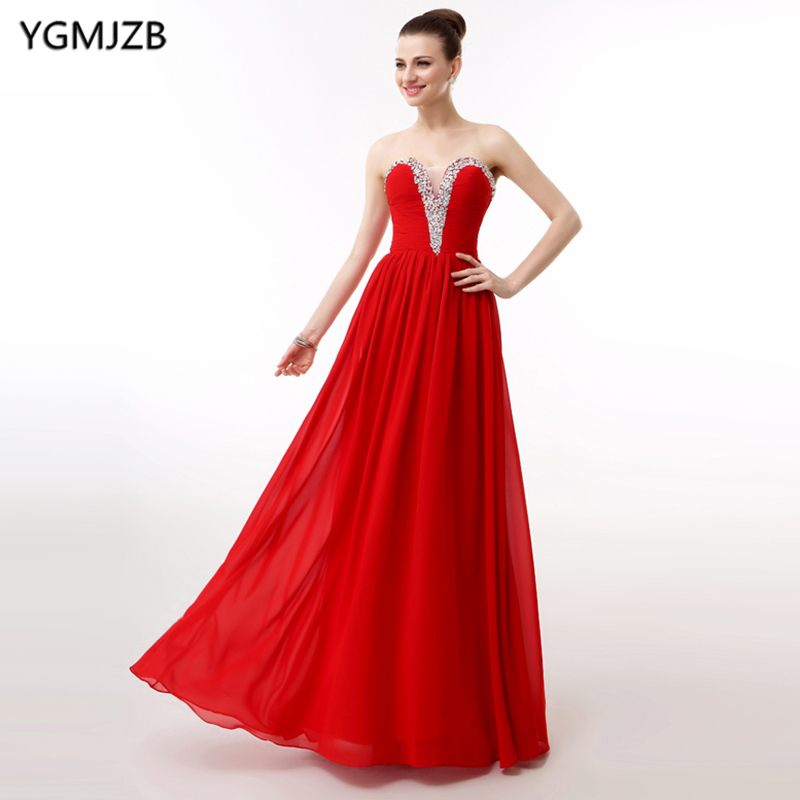 Elegant Red   Prom     Dresses   Long 2018 A Line Sweetheart Beaded Sequined Chiffon Evening   Dress   Women Formal   Prom   Evening Gown