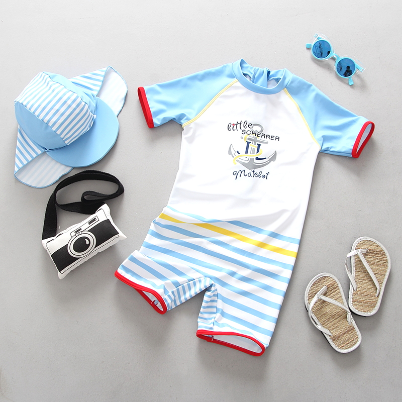 1 3T Baby Swimwear One Pieces Infant Baby Boys Swimsuit Cartoon Newborn Kids Bathing Suit Sun Protected Children Beach Pool Wear in Swimwear from Mother Kids