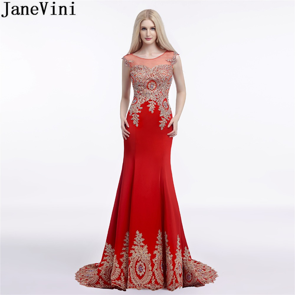 US $144.08 45% OFF|JaneVini Elegant Red Wedding Party Dresses Plus Size  Gold Lace Long Mermaid Bridesmaid Dress Beaded Illusion Satin Formal  Gowns-in ...