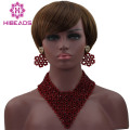 Fabulous Wine Burgundy Women African Fashion Jewelry Sets New Design Beads Statement Necklace Set Free Shipping WD070