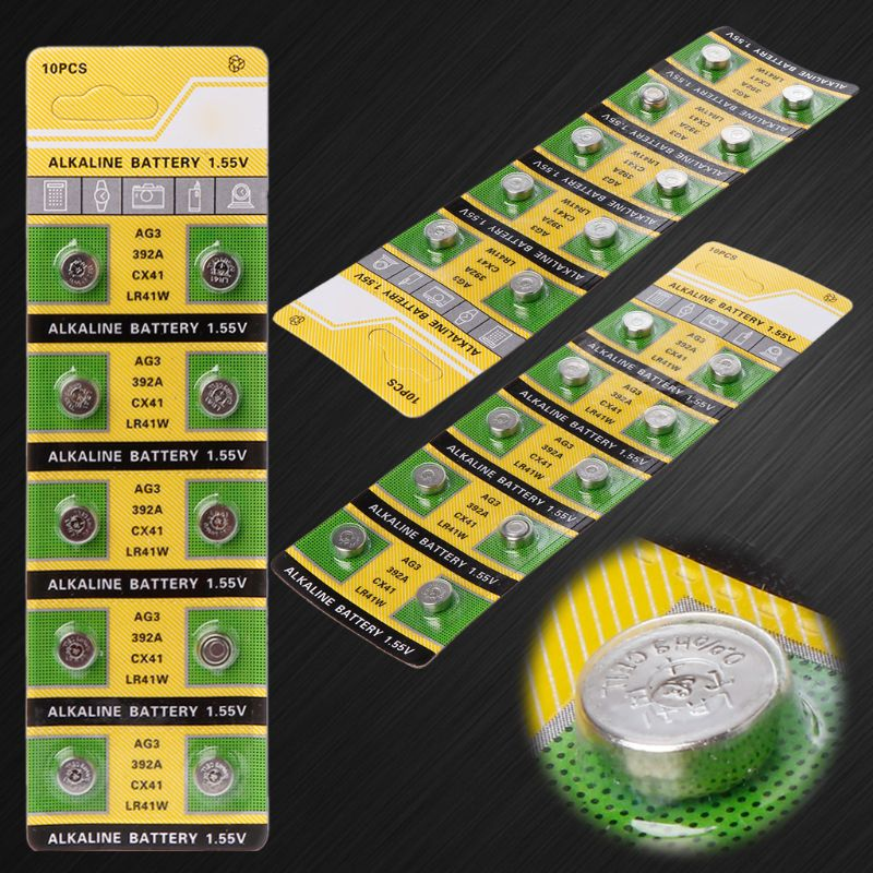 10PCS Cell Coin Alkaline Battery AG3 1.55V Button Batteries SR41 192 L736 384 SR41SW CX41 LR41 392 Lamp Chain Finger Light Watch