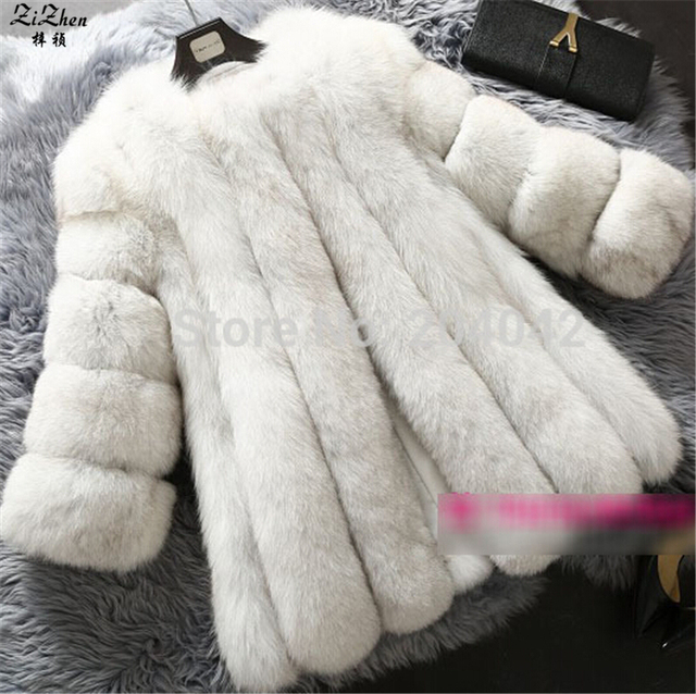 Winter Warm Natural Real Genuine Fox Fur Coat Women Luxury Full Pelt Jacket Natural Fox Fur Long Overcoat With Pockets 180628-1