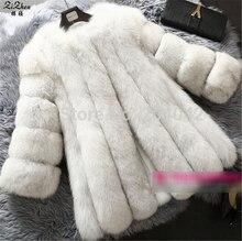 Winter Warm Natural Real Genuine Fox Fur Coat Women Luxury Full Pelt Jacket Natural Fox Fur Long Overcoat With Pockets 180628-1