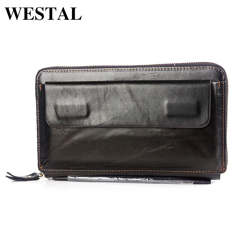 WESTAL Genuine Leather Men Long Design Wallets Male Fashion zipper Clutch Bag Men's Purse Man Leather Card Holder Wallet  9043 rechargeable electric shaver silver ac 220v