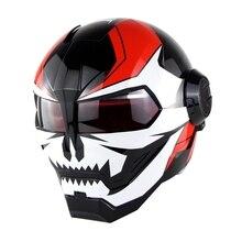 SOMAN Iron Man Motorcycle Helmet Flip up Motorbike Robot Style Helmet