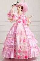 2016 Women Vintage Royal Court Dress European Lace Elegant Long Dress Pink Make Up Party Dress Halloween Uniform