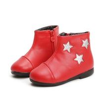2018New Little Baby Girls Children Leather Boots Shoes For Kids Martin Snowboots Black Red 1 2 3 4 5 6 7 Year