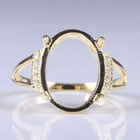 Solid 14k Yellow Gold Natural Diamonds Engagement Ring 14x10.5mm Oval Cabochon Wedding Fine Jewelry