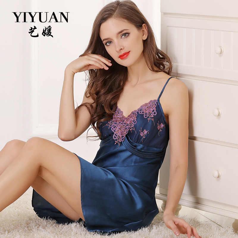 ddc9bec047d Июань Марка 100% натуральный шелк ночная рубашка Женский вышивка v-образным  вырезом слинг белье