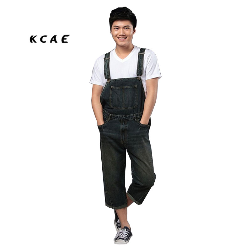 Men's Loose Capris Jumpsuits Shorts Overalls Male Pocket Huge Denim Bib Pants Suspenders Plus Size Denim Jumpsuit men s bib jeans 2016 new casual front pockets blue denim overalls boyfriend jumpsuits male suspenders jeans size m xxl