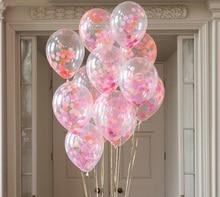 6pcs 12inch Balloons Confetti Flamingo Party Decor Transparent Latex Ballon Pink Fushcia Orange Balloon DIY