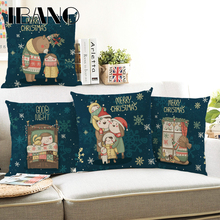 Cartoon Sweet Bear Cushion Cover 45x45cm Pillow Cases Happy New Year Gift Bedroom Sofa Christmas Decorations For Home