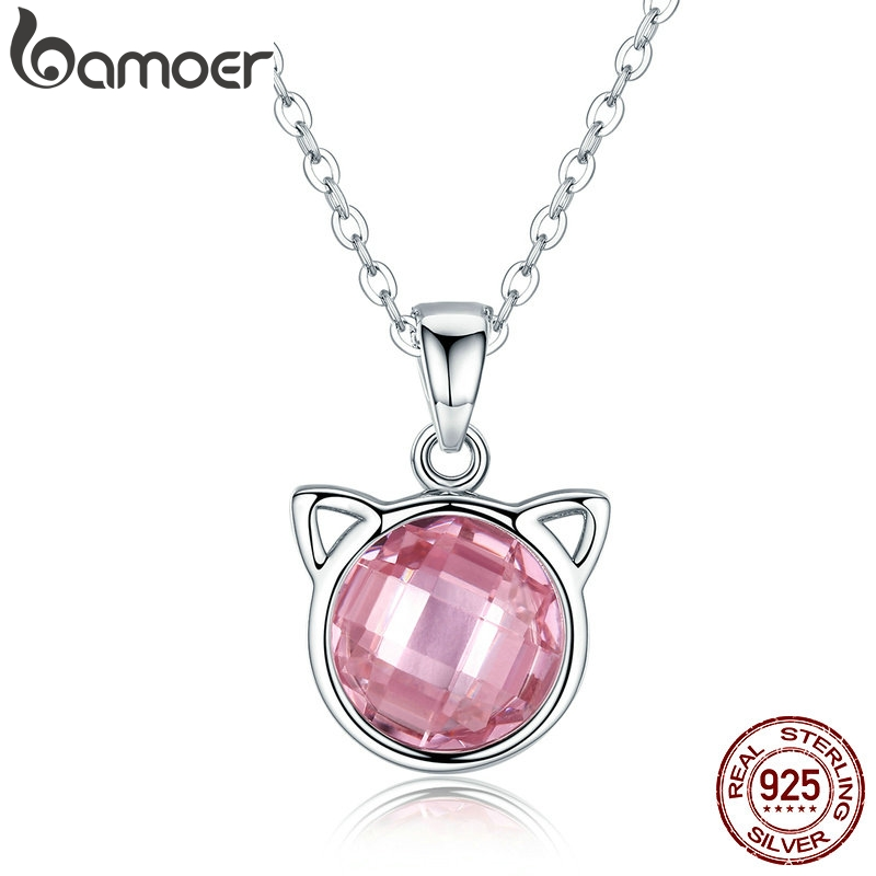 BAMOER Genuine 925 Sterling Silver Cute Cat Pendant Necklaces with Pink Zircon for Women Animal Jewelry SCN083BAMOER Genuine 925 Sterling Silver Cute Cat Pendant Necklaces with Pink Zircon for Women Animal Jewelry SCN083