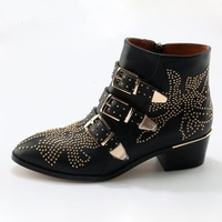 Rivets Patch Floral Ankle Boot Leather Buckle Straps Thick Heels Stud Ankle Boots Ladies Motorcycle Woman Riding Boots Size 10