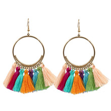 Tassel Earrings Fashion Multi-color Fringes Gold Color Boho Circle Drop Earrings Brincos Feminino Party Jewelry Accessories