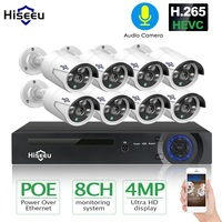 H.265 8CH 4MP POE cámara de seguridad CCTV sistema NVR POE impermeable al aire libre de vídeo Kit DE VIGILANCIA DE Hiseeu