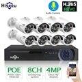 H.265 8CH 4MP POE cámara de seguridad CCTV sistema POE NVR al aire libre impermeable Video vigilancia Kit Hiseeu