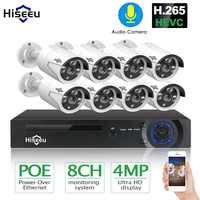 H.265 8CH 4MP POE cámara de seguridad CCTV sistema POE NVR exterior impermeable Video vigilancia Kit hiseue