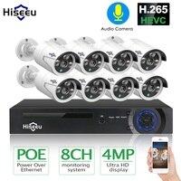 H.265 8ch 4mp poe 카메라 보안 cctv 시스템 poe nvr 실외 방수 비디오 감시 키트 hiseeu