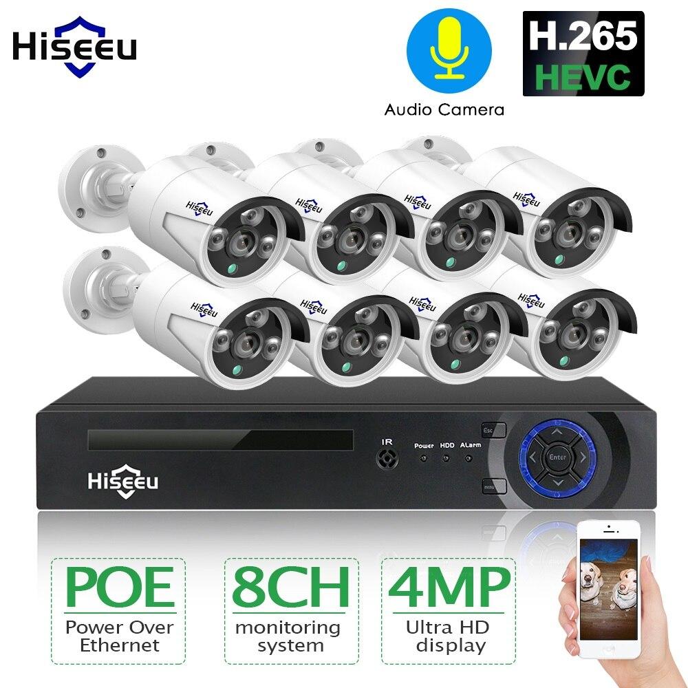 H.265 8ch 4mp poe câmera de segurança sistema cctv poe nvr kit vigilância vídeo ao ar livre à prova dwaterproof água hiseeu