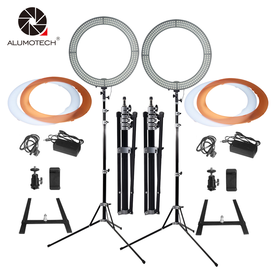 18Ring LED Light*2+Stand*2 Selfie Lights 60W 5500K/3200K Dimmable Lamp Bulbs for Camera Photography Studio Phone Video