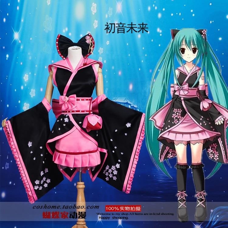Free Shipping Hot Anime Hatsune Miku cosplay costume Hatsune Miku Sakura kimono Dress cosplay Japanese Kimono