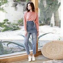 Весна и осень женские отверстие джинсы свободные нагрудник джинсы Nine брюки женские Drawsring Комбинезоны женские подтяжки брюки D6