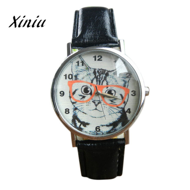 Xiniu Watch Women Cat Pattern Leather Band Quartz Watches Roman Numerals Wood Le