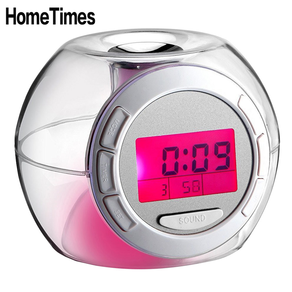 Creative Natural Sound Therapy Color Changing Fashion LCD Digital Alarm Clock Home LED Night Light Snooze