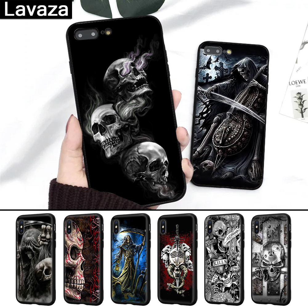Lavaza Grim Reaper Skull Skeleton Coque Shell Print Silicone Case for iPhone 5 5S 6 6S 7 8 11 Pro Plus X XR XS Max in Fitted Cases from Cellphones Telecommunications