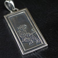 Authentic OV 925 sterling silver, tiger military license male pendant