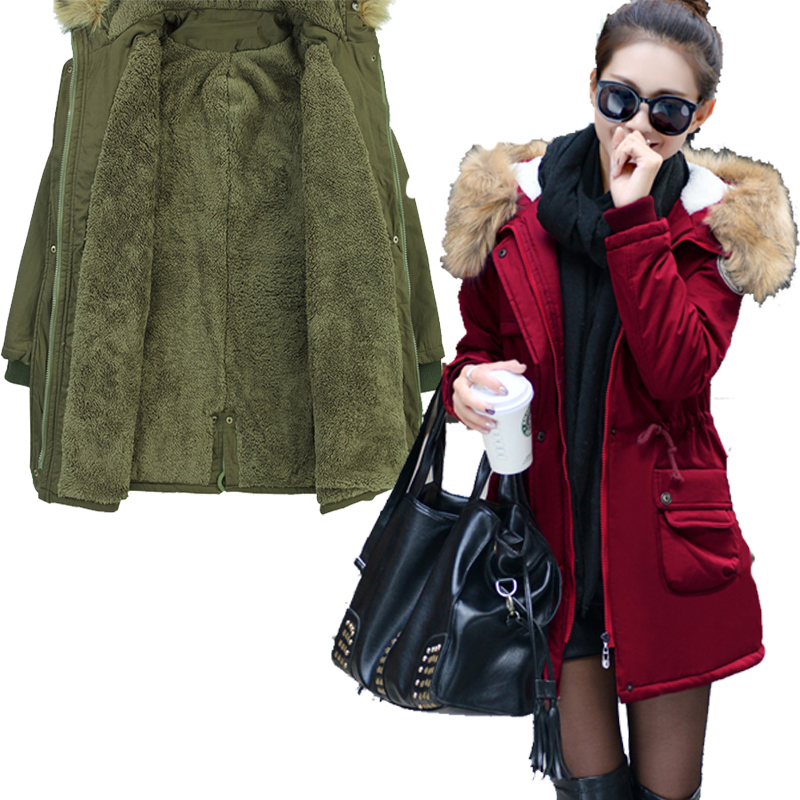 New Women Fashion Thicken Hooded   Parkas   Cotton Warm Winter Ladies Big Pockets Female Outwear Wine Red Long Coats Jackets FDEW541