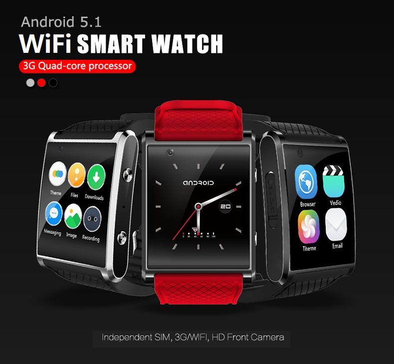 ELECTSHONG android 5 1 smartwatch MTK6580 smart WiFi watch with pedometer camera GPS men women watch