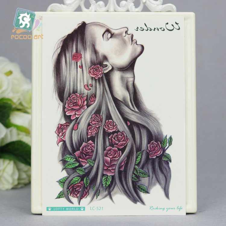 LC-521/2017 HD grand Tatoo autocollant coloré indien rétro fille fleur femmes conception Cool temporaire tatouage autocollants Taty