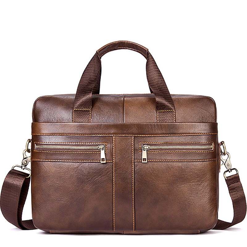 14 Inch Men's Briefcase Bags Genuine Leather Men Handbag Fashion Male Shoulder Bag Cow Leather Messenger Bags Waterproof Brown