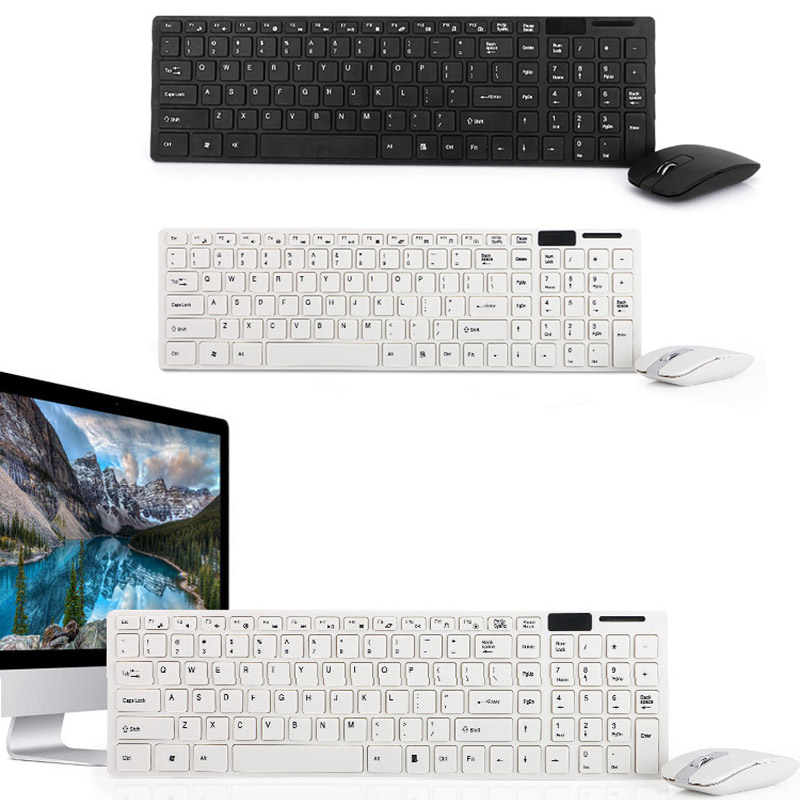 Gaming Keyboard Mouse Combo Wireless 2.4G Ultra Slim Mute Keyboard Mice Set for PC Laptop Desktop XXM8