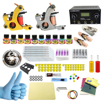 WORMHOLE TATTOO Complete Starter Tattoo Kit 2 Machine Liner Shader Gun 10 Color 5ml Inks Power