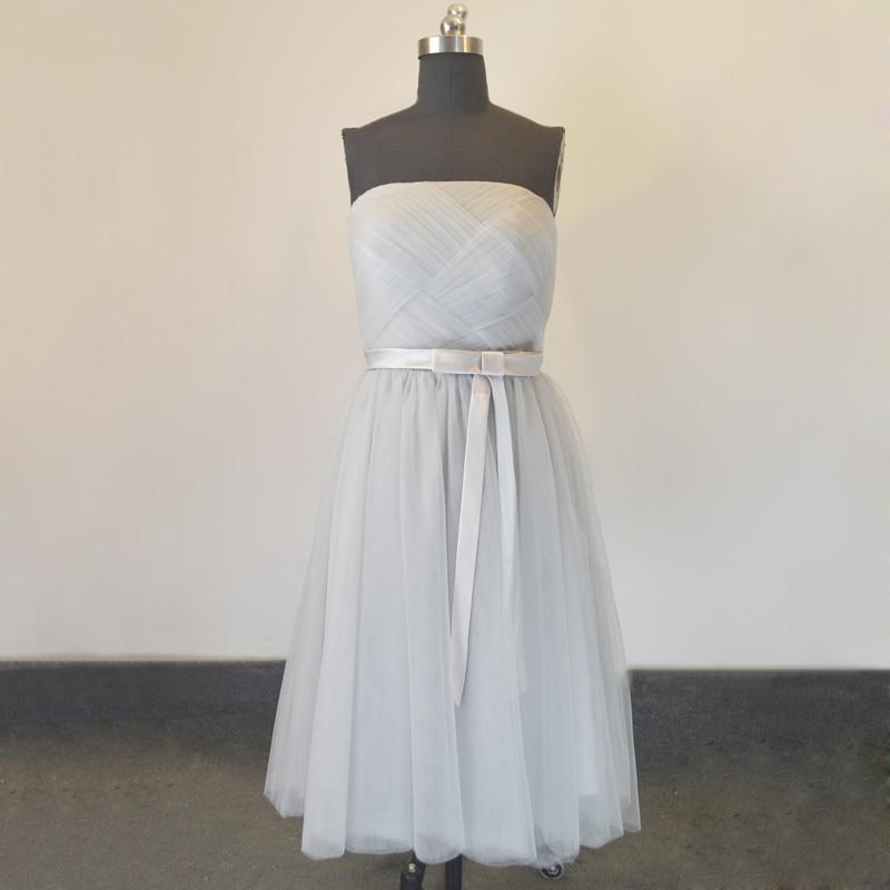 Custom Made Vestidos De Dama De Honor Tulle Short Grey  Bridesmaid Dresses Cheap Party Gowns