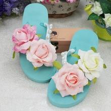 Koovan Womens Beach Slippers 2018 DIY Handmade New Bright Pink Flowers Summer Flip Flops Women Sandals Flip-flops