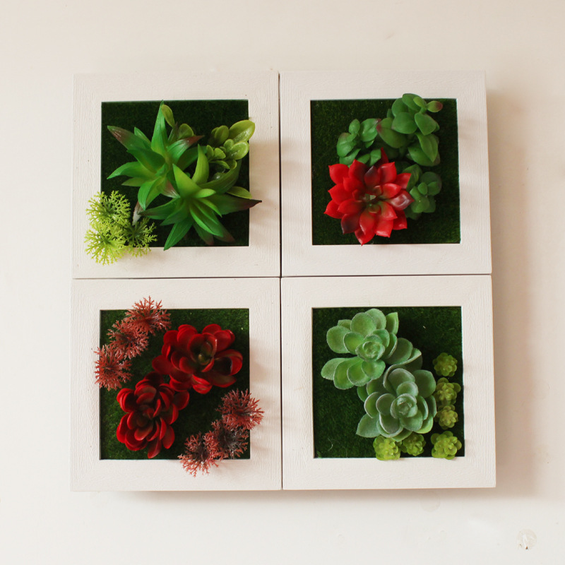 3D Creative Metope Succulent Plant Imitation Wood Photo Frame Artificial Flowers Wall Sticker Decor Home Decoration Accessories