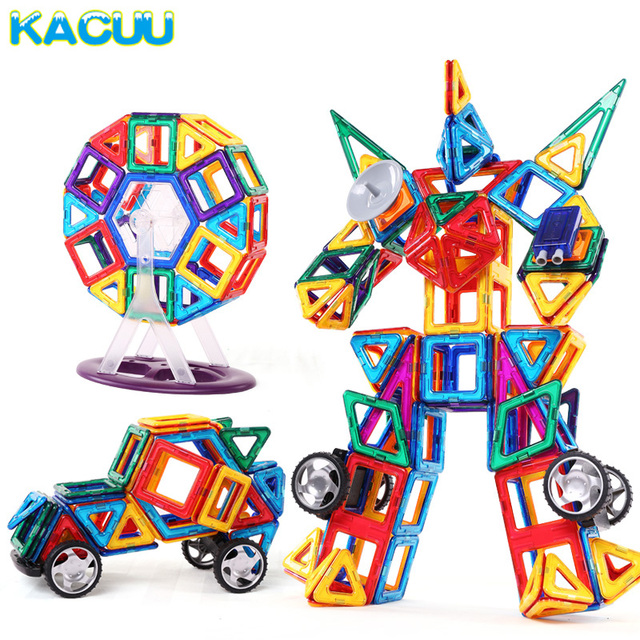 Kacuu 78 шт. большой Размеры Магнитный конструктор здания Конструкторы Модель Строительство и строительство Игрушечные лошадки кирпич магнитные Игрушечные лошадки для Детский подарок