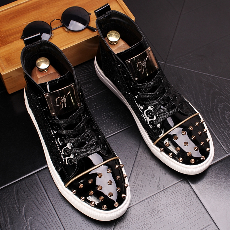 CuddlyIIPanda Men Fashion Punk Sneakers Metal Casual Platform High Top Shoes Flat Martin Boots Male Rivets Prom Shoes Zapatillas 2