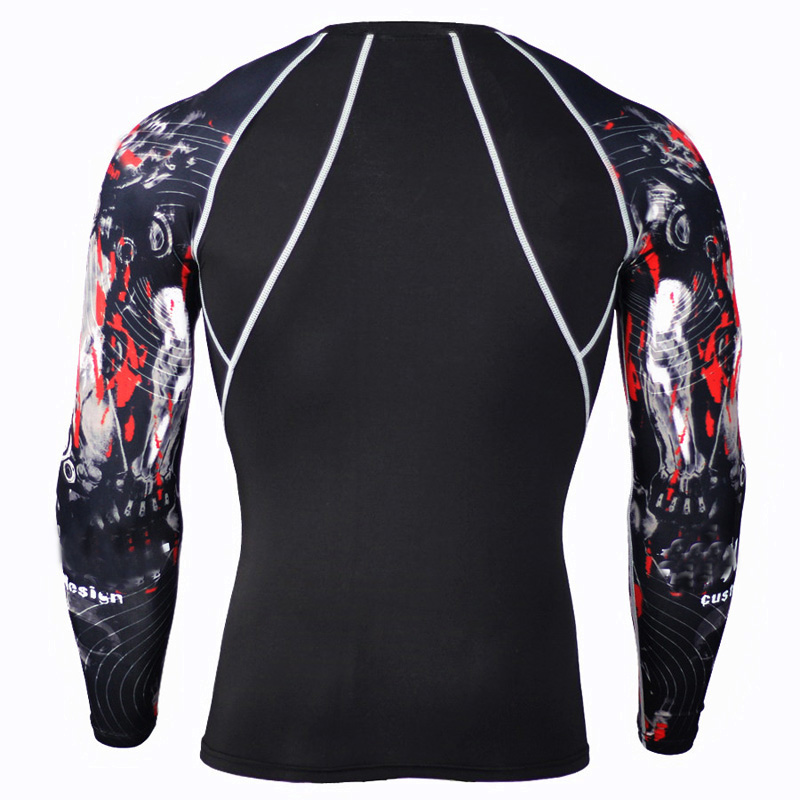 2017 новые фитнес сжатия футболка мужская 3д печатных мма кроссфит мышцы рубашка леггинсы базовый слои обтягивающие топы