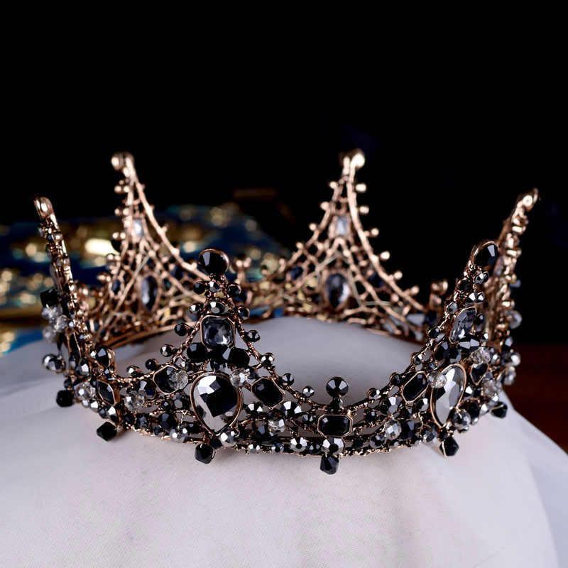 รอบวงกลม Tiara Baroque สีดำคริสตัลมงกุฎสีดำมงกุฎผมเครื่องประดับตกแต่งเด็กอุปกรณ์แต่งงานเจ้าสาว Headpiece